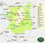Mount Kenia Karte.East African Maps Kenya Tanzania Masai Mara Nairobi