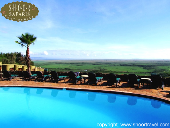 View from a Serena lodge overlooking the african plains
