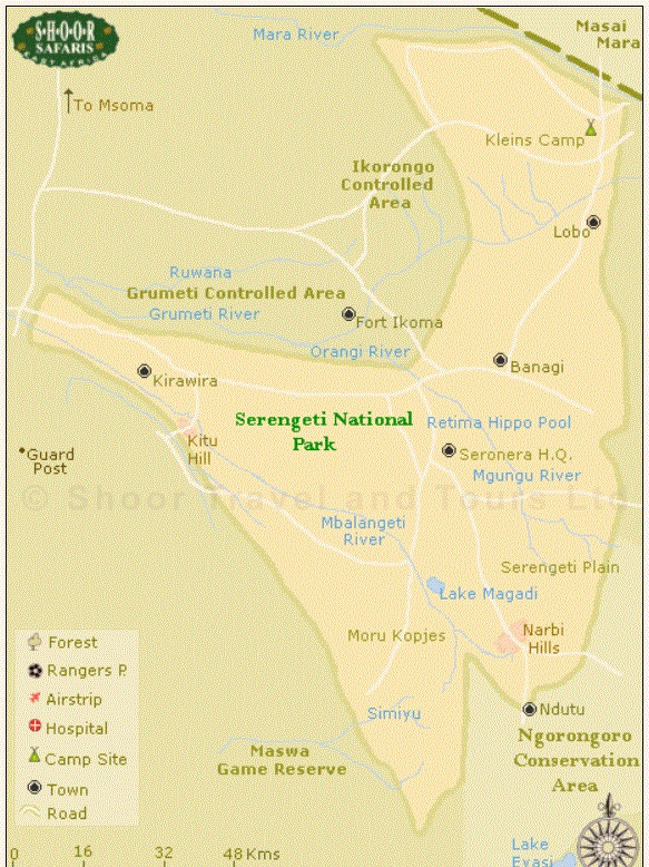 Map of Serengeti National Park Tanzania