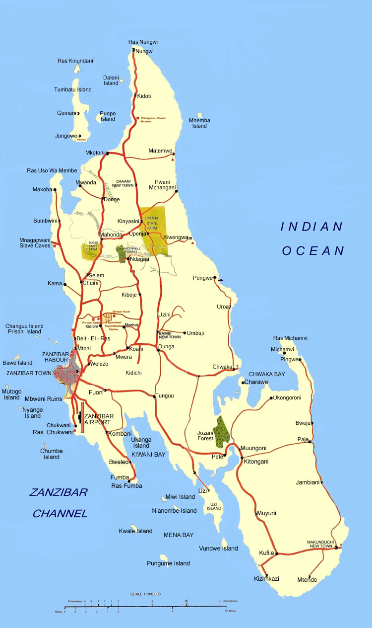 Map of Zanzibar - Copyright Shoor Travel